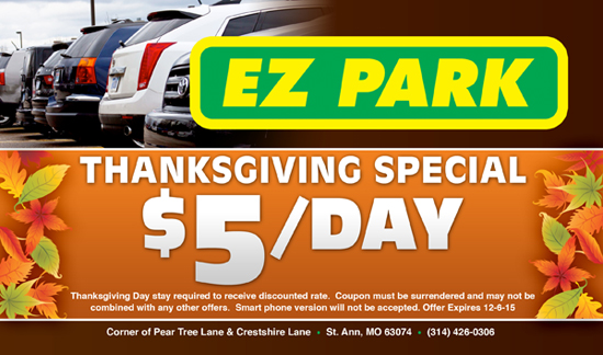 EZ Park $5/Day Thanksgiving Special